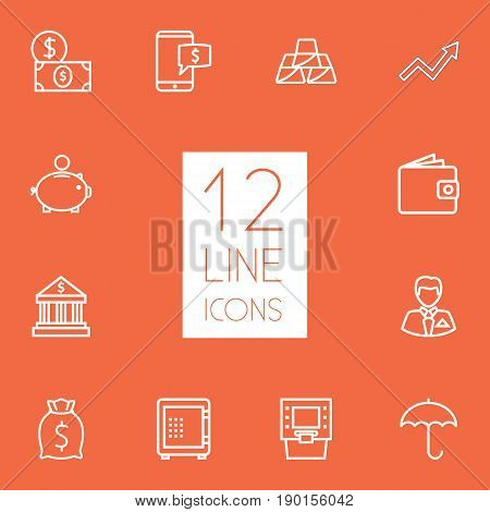 Set Of 12 Budget Outline Icons Set.Collection Of Moneybag, Money Box, Wallet And Other Elements.