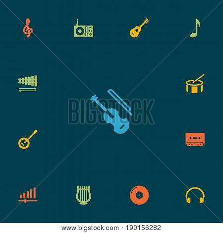 Set Of 13 Song Icons Set.Collection Of Tambourine, Tone Symbol, Radio And Other Elements.