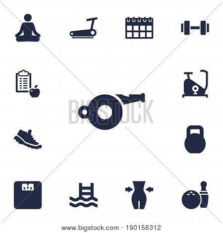 Set Of 13 Bodybuilding Icons Set.Collection Of Weights, Basin, Kegling And Other Elements.