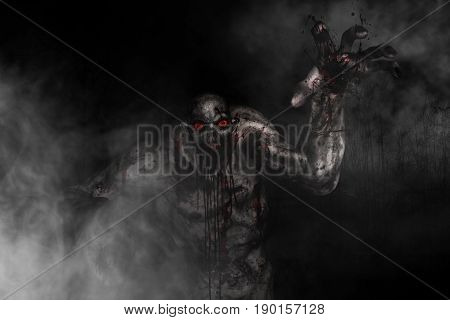 Bloody creature out from the wood,3d illustration
