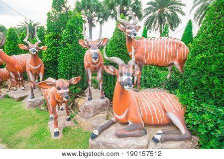 Statue Mountain Bongo. At Nong Nooch Garden Pattaya.