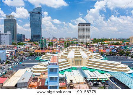 Phnom Penh, Cambodia - March 31, 2017: Central Market Phsar Thmei in Phnom Penh, Cambodia