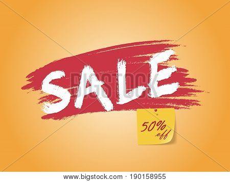Sale banner 50% off sign over grunge brush. Vector illustration on orange background.