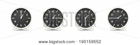 Closeup group of black and white clock with shadow for decorate show the time in 1 1:15 1:30 1:45 p.m. isolated on white background beautiful 4 clock picture in different time