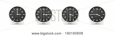 Closeup group of black and white clock with shadow for decorate show the time in 3 3:15 3:30 3:45 p.m. isolated on white background beautiful 4 clock picture in different time