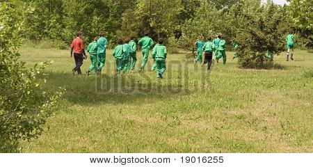 Soccer players at training