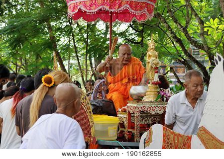 Ratchaburi Thailand - October 18 2016:Ratchaburi Thailand - October 18 2016:Buddhist monks are blessing to people in the end of Buddhist Lent Day.