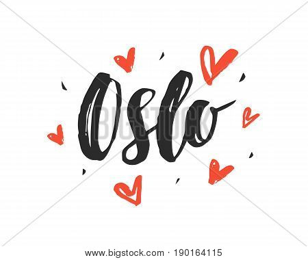 Oslo. Modern city hand written brush lettering, isolated on white background. Ink calligraphy. Capital of Norway. Tee shirt print, typography card, poster design. Vector illustration.
