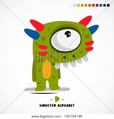 Monster alphabet. Letter P. A strange animal. Vector illustration on white background. Great children's print. The concept of a kid's toy.