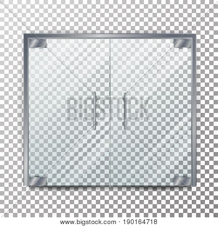 Glass Door Transparent Vector. Clear Glass Door Isolated On Transparent Checkered Background. Mock Up Entrance Door For Shop Or Boutique.