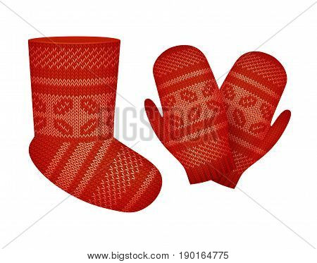 Vector knitted set of socks and mittens decorated with a pattern