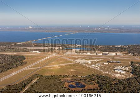 Aerial view of the airport in Titusville behind the building Nasa at Kennedy Space Center Cape Canaveral. Florida USA