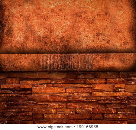 Scratched and spotted a metal sheet texture with grunge brick background close up