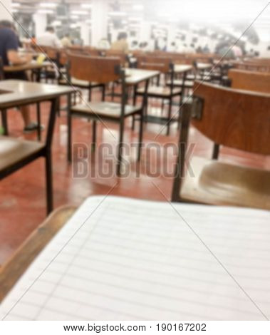 Abstract blurred Examination paper school classroom chairs
