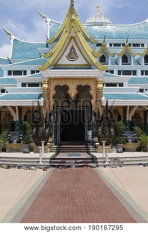 entrance temple Udon Thani golden culture , buddhist
