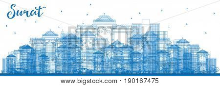 Outline Surat Skyline with Blue Buildings. Business Travel and Tourism Concept with Historic Buildings. Image for Presentation Banner Placard and Web Site.