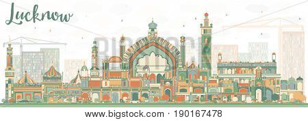 Abstract Lucknow Skyline with Color Buildings. Business Travel and Tourism Concept with Modern Architecture. Image for Presentation Banner Placard and Web Site.
