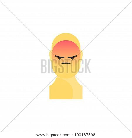 Angry Yellow Smiley. Like Social Icon. Button For Expressing Social Emoji. Flat Vector Illustration