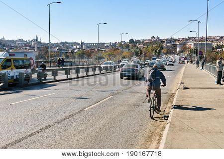 Ataturk Bridge In Istanbul. Turkey