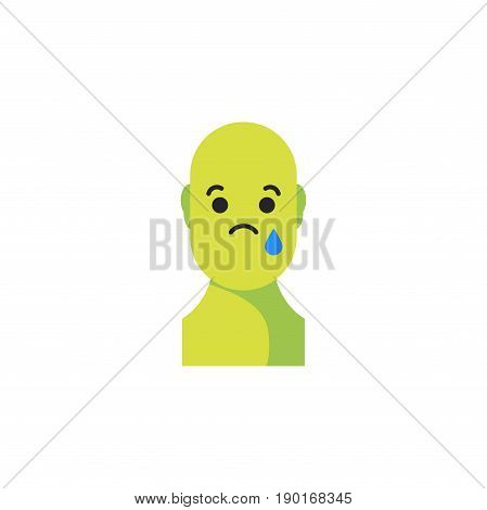 Sad Green Smiley. Like Social Icon. Button For Expressing Social Emoji. Flat Vector Illustration Eps