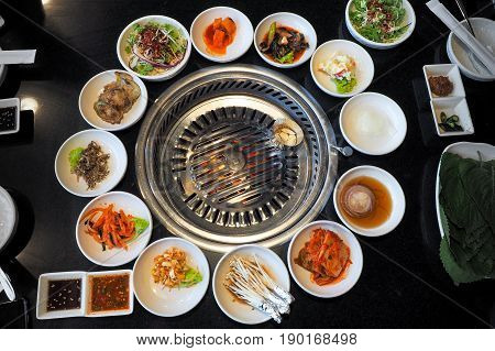 Korean barbeque with grill table and vegetable set