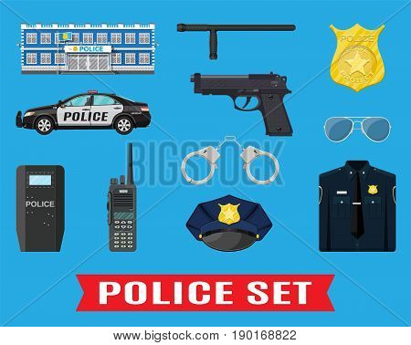 Police equipment set. Handcuffs, riot shield, handgun, truncheon, badge, radio, car and other element. Vector illustration in flat style