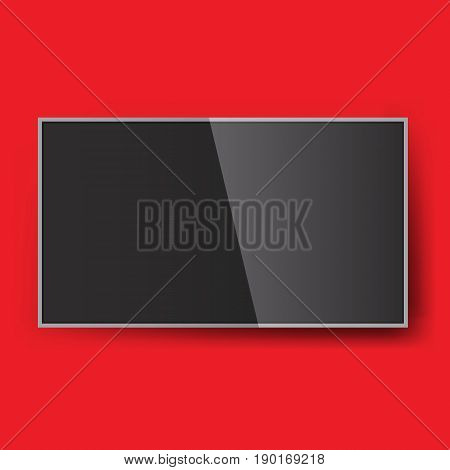 Smart Led TV hanging on the wall. Vector illustration mock-up. Isolated background