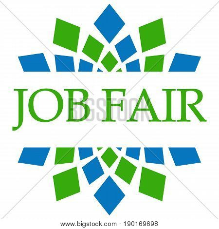 Job Fair text written over blue green background.