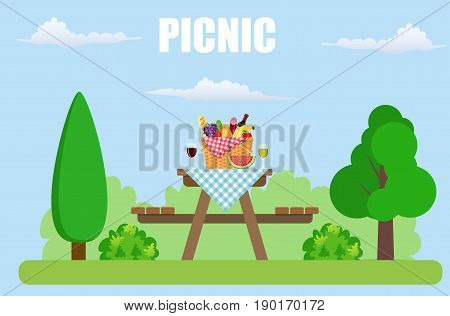 Outdoor picnic in park Table covered with tartan cloth. Picnic basket filled with food on the chair. Vector illustration in flat style
