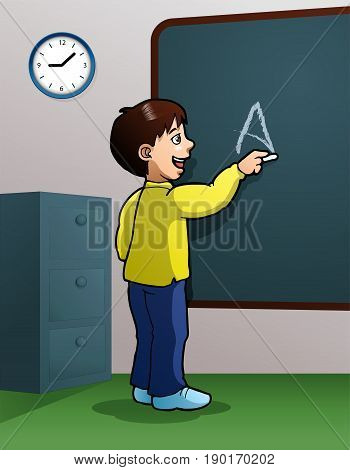 illustration of a boy writing using chalk on class room background