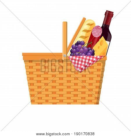 WIcker picnic basket with gingham blanket full of products. Bottle of wine, sausage, cheese. Vector illustration in flat style