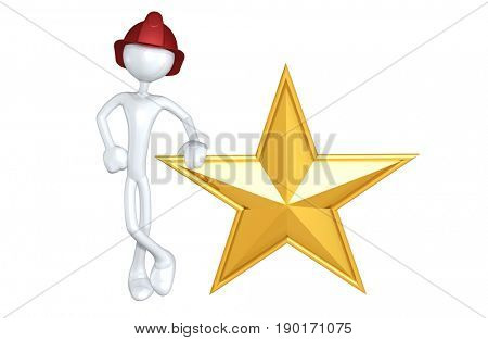 Fireman The Original 3D Character Illustration With A Star