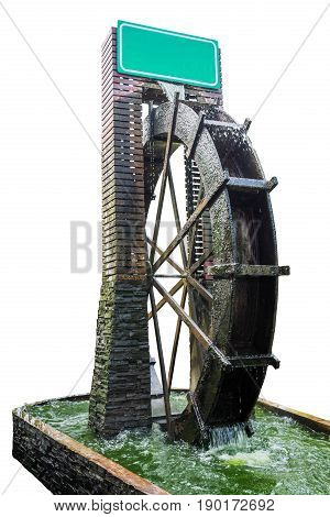 wooden water turbine in water tank isolated on white