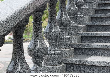 Granite ladder with granite figured handrail granite stairs.