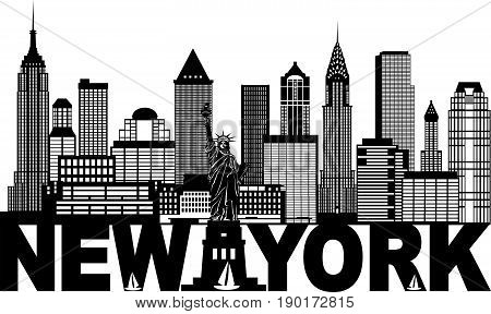 New York City Skyline with Statue of Liberty and text Black and White Outline vector  Illustration