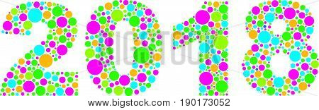 Happy New Year 2018 Silhouette with Colorful Polka Dots Illustration Isolated on White Background