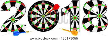 2018 Happy New Year Dartboard with Darts on Hitting Target Bullseye Numerals Outline Illustration Isolated on White Background