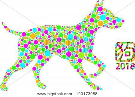 Chinese Lunar New Year of the Dog 2018 with Stamp Chop Dog Text Colorful Polka Dots Pattern vector  Illustration