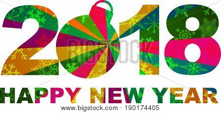 2018 Happy New Year Numbers and Text Silhouette Ornament with Snowflakes Texture Pattern Background vector  Illustration