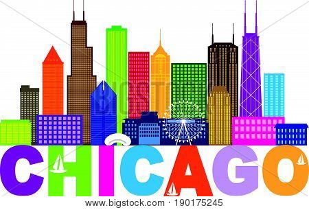 Chicago City Skyline Panorama Color Outline Silhouette with Text Isolated on White Background vector  Illustration