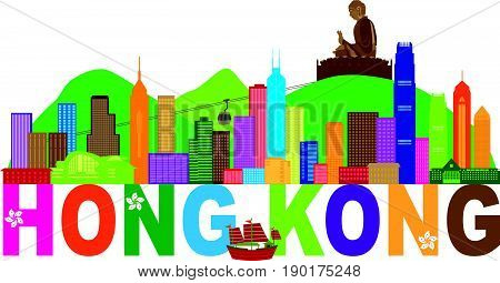 Hong Kong City Skyline and Big Buddha Statue Panorama Color Abstract Text Isolated on White Background vector  Illustration
