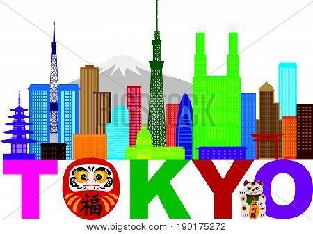 Tokyo Japan City Skyline Panorama Daruma Doll Maneki Neko Cat Text Color Illustration