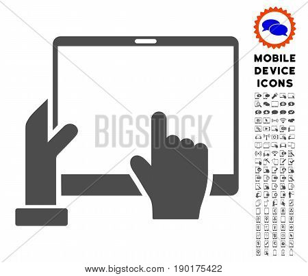 Hand Points PDA icon with mobile communicator pictogram collection. Vector illustration style is a flat iconic symbol, gray colors. Designed for web and software interfaces.