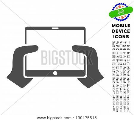 Hands Hold PDA icon with mobile device icon package. Vector illustration style is a flat iconic symbol, gray colors. Designed for web and software interfaces.