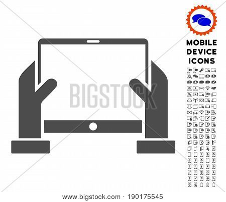 Hands Hold Tablet icon with mobile communicator icon package. Vector illustration style is a flat iconic symbol, gray colors. Designed for web and software interfaces.