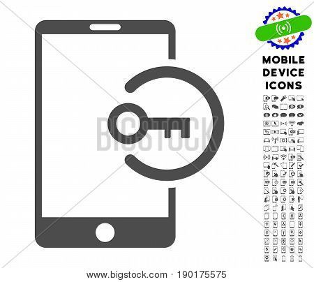 Key Login Smartphone icon with mobile communicator pictogram set. Vector illustration style is a flat iconic symbol, gray colors. Designed for web and software interfaces.