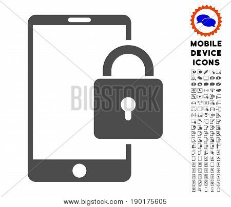 Lock Smartphone icon with smartphone glyph clipart. Vector illustration style is a flat iconic symbol, gray colors. Designed for web and software interfaces.