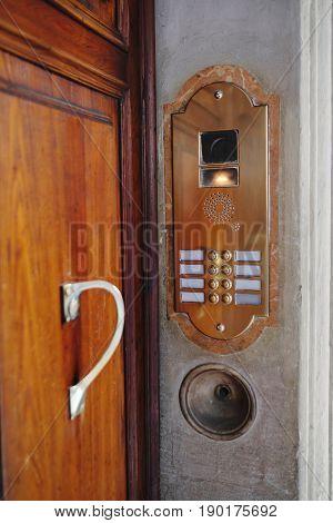 Retro door phone in Bologna, Italy
