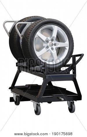 Trolley for car tyres replacement