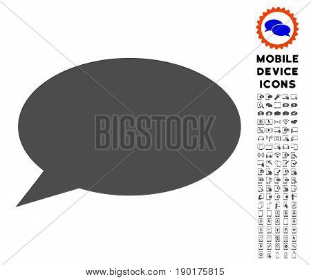 Message Cloud icon with mobile communicator glyph set. Vector illustration style is a flat iconic symbol, gray colors. Designed for web and software interfaces.